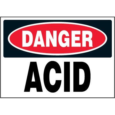 Chemical Labels - Danger Acid