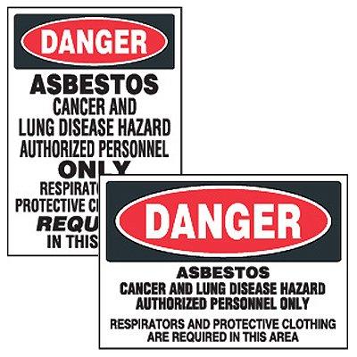Chemical Safety Labels - Danger Asbestos Cancer Hazard