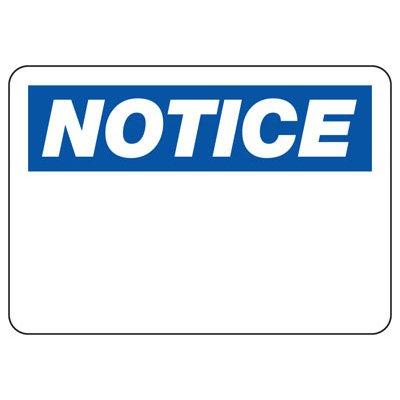 Write-On Blank Notice Sign