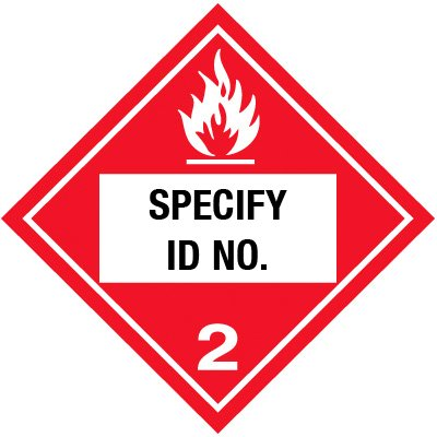 Custom Class 2 Flammable DOT Placard