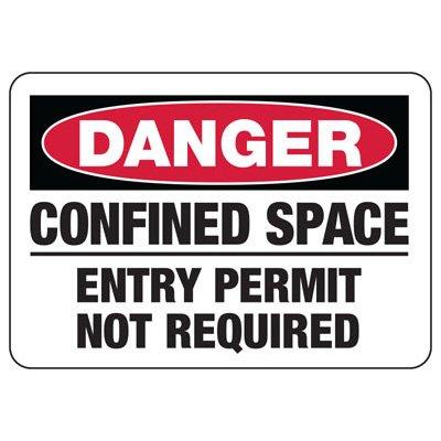 Danger Confined Space No Permit Sign