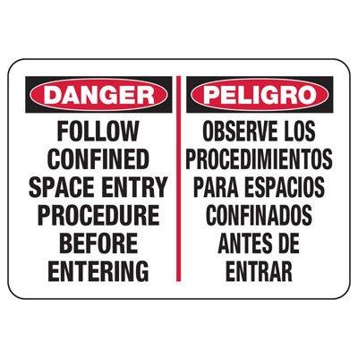 Bilingual Danger Confined Space Procedure Sign
