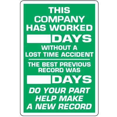Dry Erase Safety Tracker Signs - This Company Has Worked __ Days Without A Lost Time Accident