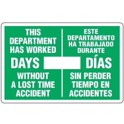 Dry Erase Safety Tracker Signs - This Department Has Worked Este Departamento Ha Trabajo