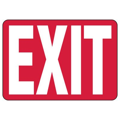 Exit Sign, White/Red