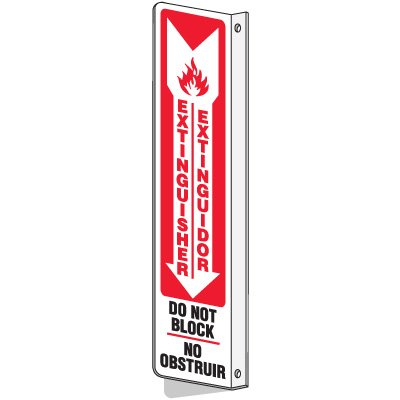 Bilingual Slim-Line 2-Way Extinguisher Do Not Block Signs