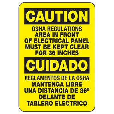 Electrical Safety Signs - Bilingual Electrical Panel Kept Clear