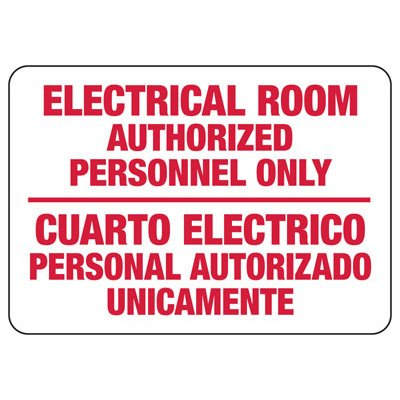 Bilingual Electrical Room Authorized Personnel Signs