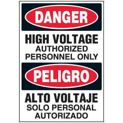 Voltage Warning Labels - Bilingual Danger High Voltage