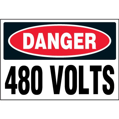 Electrical Safety Labels On A Roll - Danger 480 Volts