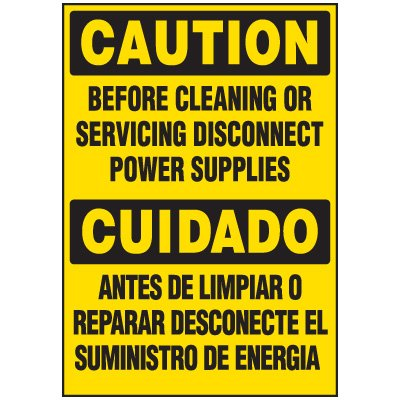 Voltage Warning Labels - Caution Disconnect Before Cleaning