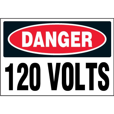 Electrical Safety Labels On A Roll - Danger 120 Volts