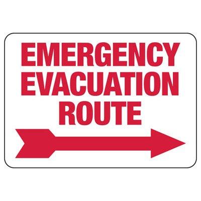 Emergency Evacuation Route (Right Arrow) - Evacuation  Signs