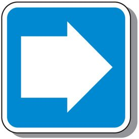 Outdoor Blue Sign with White Arrow
