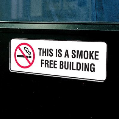 Plastic This Is A Smoke Free Building Signs w/Graphic - 9W x 3H