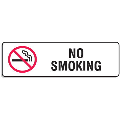 Plastic No Smoking Signs w/Graphic - 9W x 3H