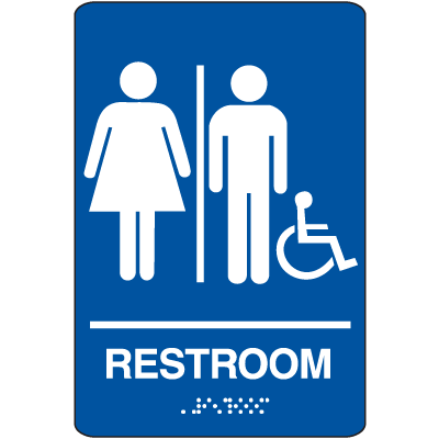 Restroom (Man/Woman/Accessibility) - Economy Braille Signs