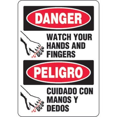 Bilingual Eco-Friendly Signs - Danger Watch Your Hands and Finger/ Peligro Cuidado Con Manos Y Dedos