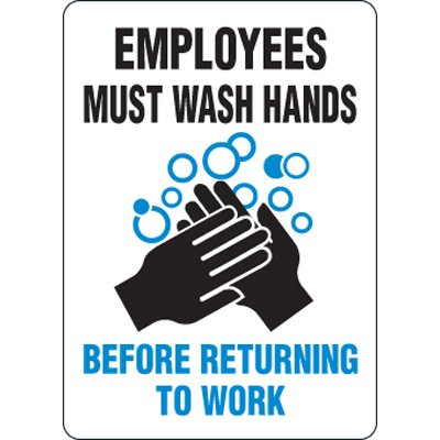 Eco-Friendly Signs - Employees Must Wash Hands Before Returning to Work