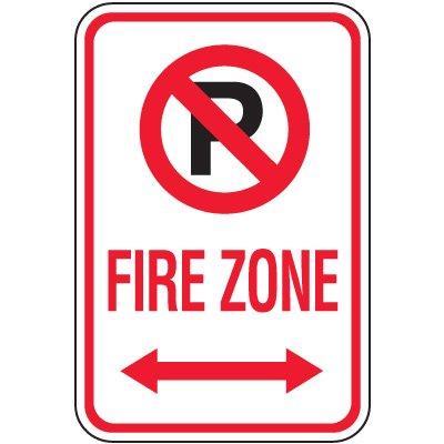 Fire Lane Signs - Fire Zone (Double Arrow & No Parking Symbol)