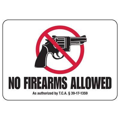 No Firearms Allowed - Tennessee Firearm Sign