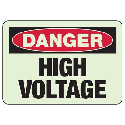 Danger High Voltage Glow Sign