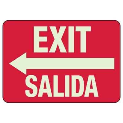 Bilingual Exit (Left Arrow) Sign