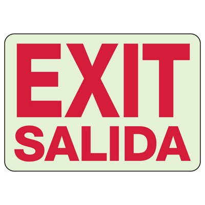 Bilingual Exit / Salida Glow Sign