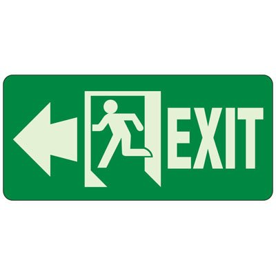 Exit (Left Arrow) Glow Sign, 6-1/2 x 14