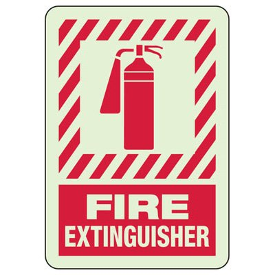 Glow In The Dark Fire Extinguisher Sign