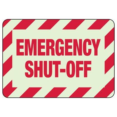 Emergency Shut Off  Glow Sign