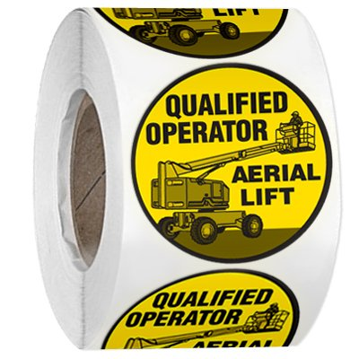 Hard Hat Safety Labels On A Roll - Qualified Operator Aerial Lift