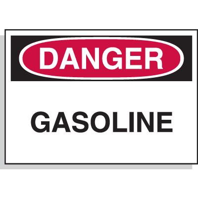 Hazard Warning Labels - Danger Gasoline