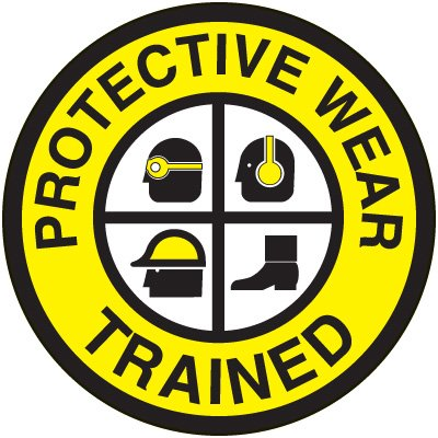 Safety Training Labels - Protective Wear Trained
