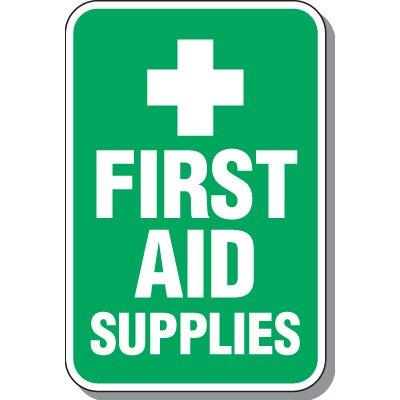 First Aid Supplies Sign