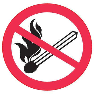 ISO Prohibition Labels - No Fire or Open Flames