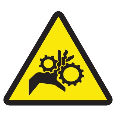 ISO Warning Symbol Labels - Gear Entrapment Hazard