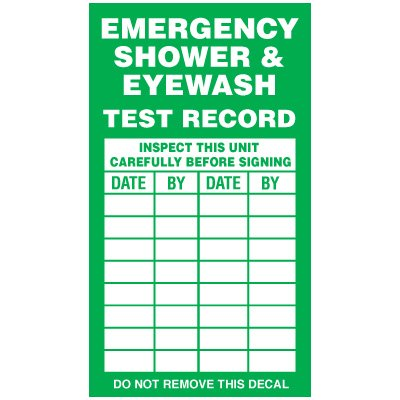 Inspection Record Labels - Emergency Shower