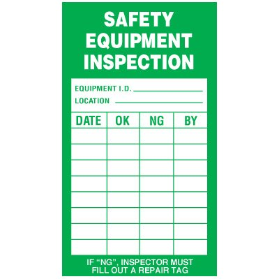 Inspection Record Labels - Safety Equipment Inspection