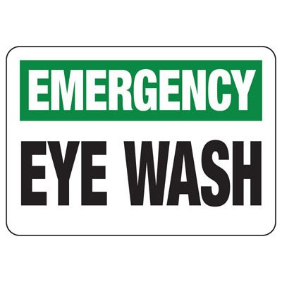 Shower, Eyewash & First Aid Signs - Emergency Eye Wash (Black Legend)
