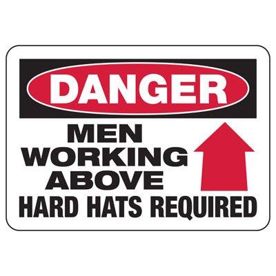 Danger Men Working Above Construction Signs