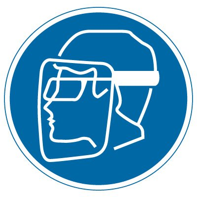 International Symbol Labels - Wear Face, Shield & Eye Protection