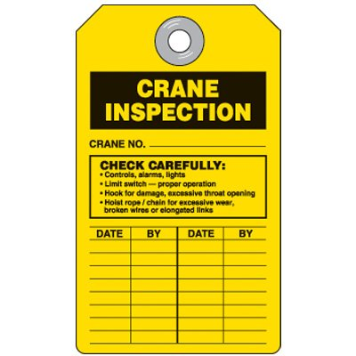Crane Equipment Inspection Tag