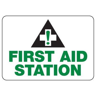 Shower, Eyewash & First Aid Signs - First Aid Station