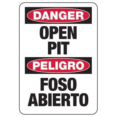 Bilingual Danger Open Pit Construction Signs