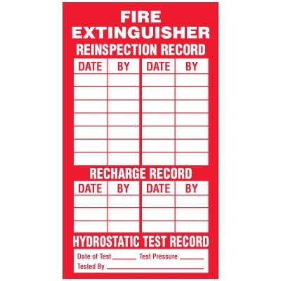 Inspection Record Labels - Fire Extinguisher Reinspection Record