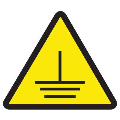 ISO Warning Symbol Labels - Electric Ground Hazard