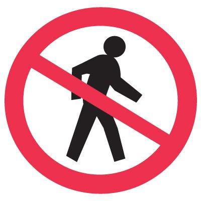 ISO Prohibition Labels - No Pedestrians