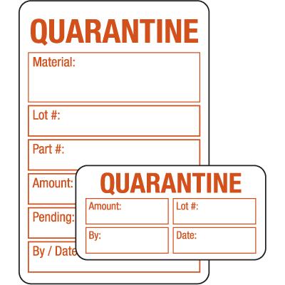 Quarantine ISO 9000 Labels