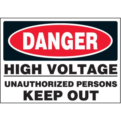 Jumbo Electrical Labels - High Voltage Unauthorized Persons Keep Out